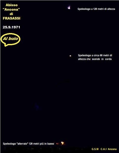 """Il """"Pozzo Ancona"""" totalmente al buio con le luci ad acetilene degli speleologi; quella in alto nel punto da dove inizia la discesa,quella al centro, a circa 60 metri nel vuoto, sul casco dell'esploratore che sta scendendo con la corda,in basso il componente del G.S.M CAI di Ancona già alla base dell'enorme voragine."""